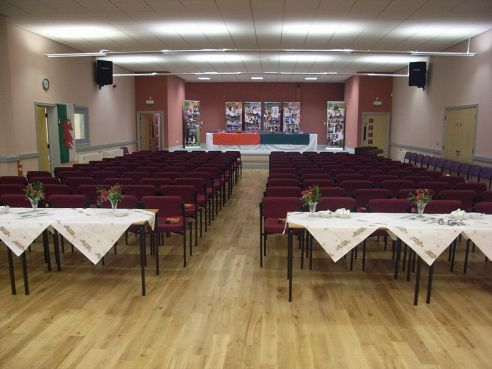 Main Hall with seats laid out for conference